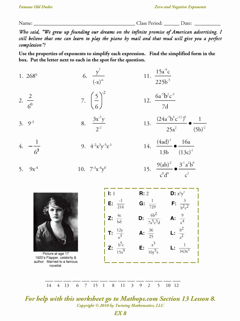 Negative Exponents Worksheet Pdf Fresh Ex 8 Zero and Negative Exponents Mathops