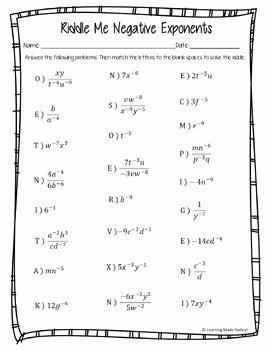 Negative Exponents Worksheet Pdf Fresh Negative Exponent Riddle Me Worksheet 8 Ee A1 by Learning