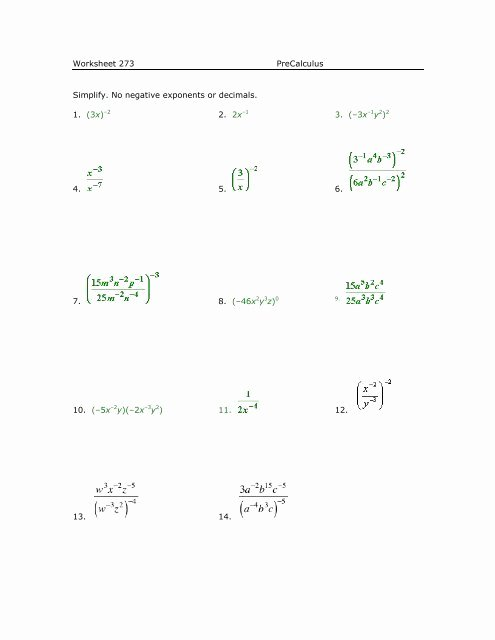 Negative Exponents Worksheet Pdf Luxury Worksheet 273 Precalculus Simplify No Negative Exponents