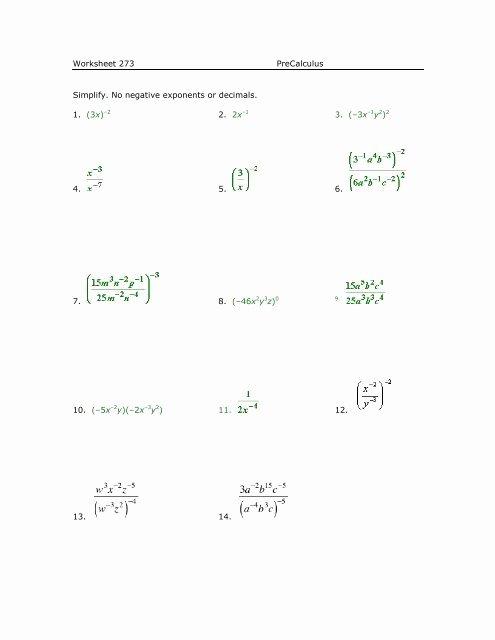 Negative Exponents Worksheet Pdf Luxury Worksheet 273 Precalculus Simplify No Negative Exponents