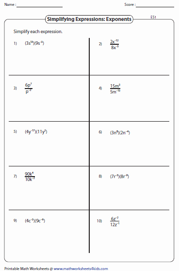 Negative Exponents Worksheet Pdf New Simplifying Algebraic Expression Worksheets