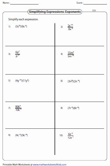 Negative Exponents Worksheet Pdf New Simplifying Algebraic Expression Worksheets