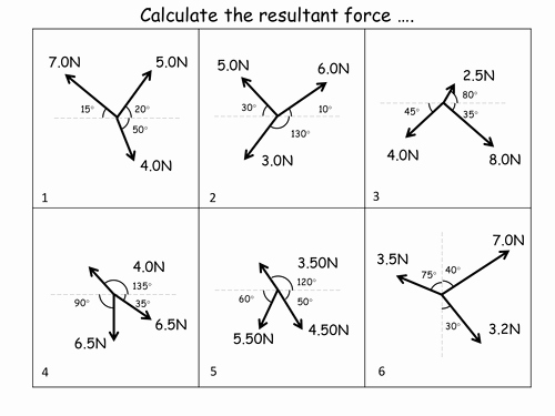 Net force Worksheet Answers Elegant Calculating Resultant forces Worksheet Answers by