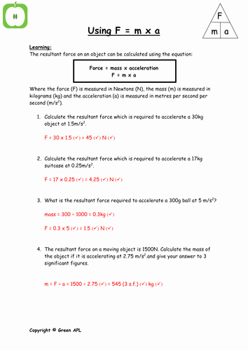 Net force Worksheet Answers Inspirational F = Ma Calculations by Greenapl Teaching Resources Tes