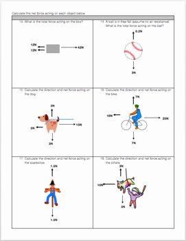Net force Worksheet Answers New Free Body Diagram & Net force Practice Worksheet