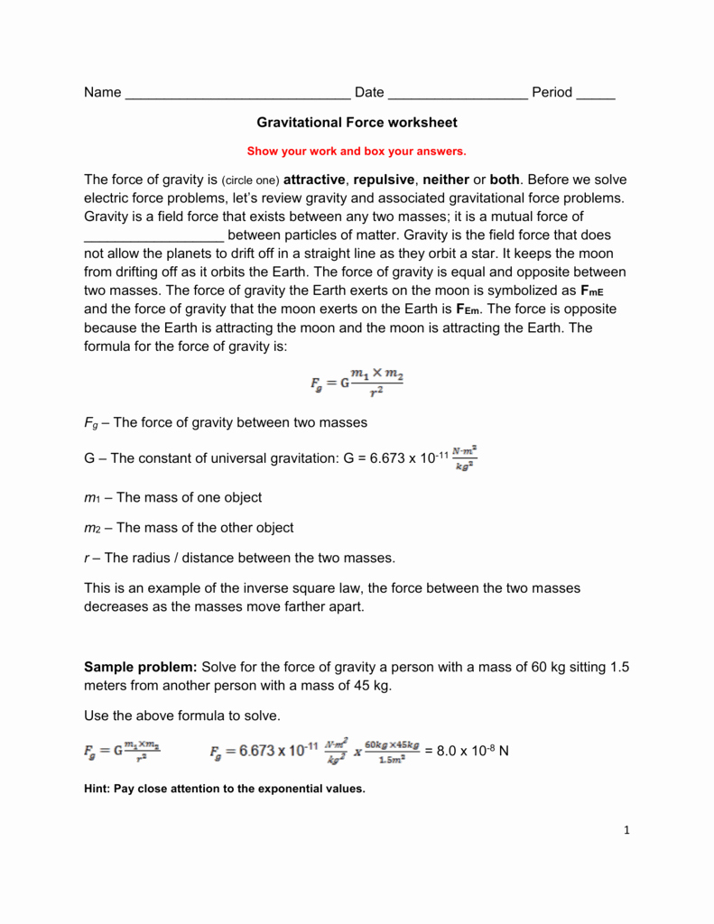 Net force Worksheet Answers Unique Gravitational force Worksheet