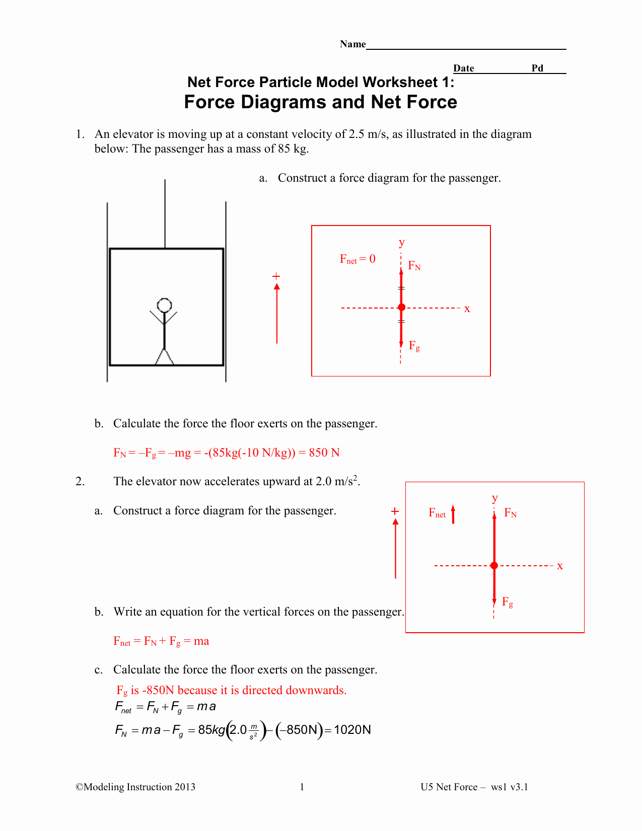 Net force Worksheet Answers Unique Net force Particle Model Worksheet 5 Newton S Second Law