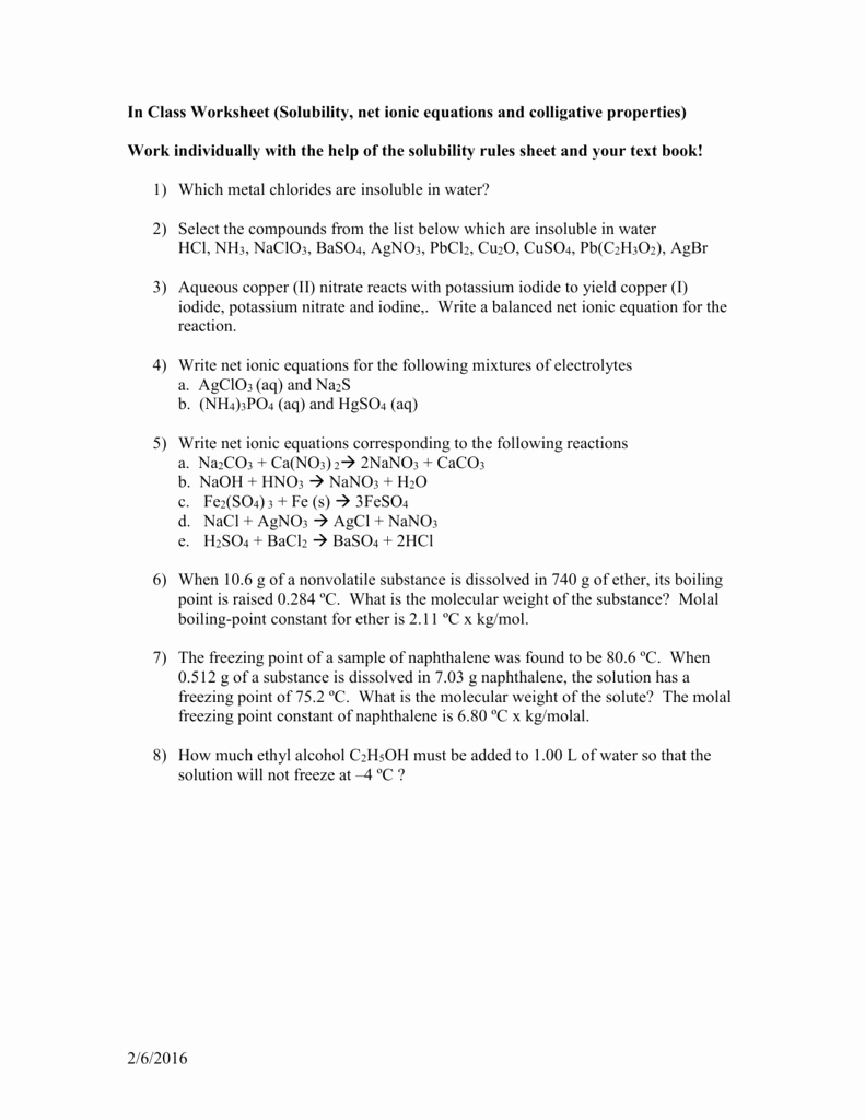 Net Ionic Equations Worksheet Beautiful In Class Worksheet solubility Net Ionic Equations Mvhs