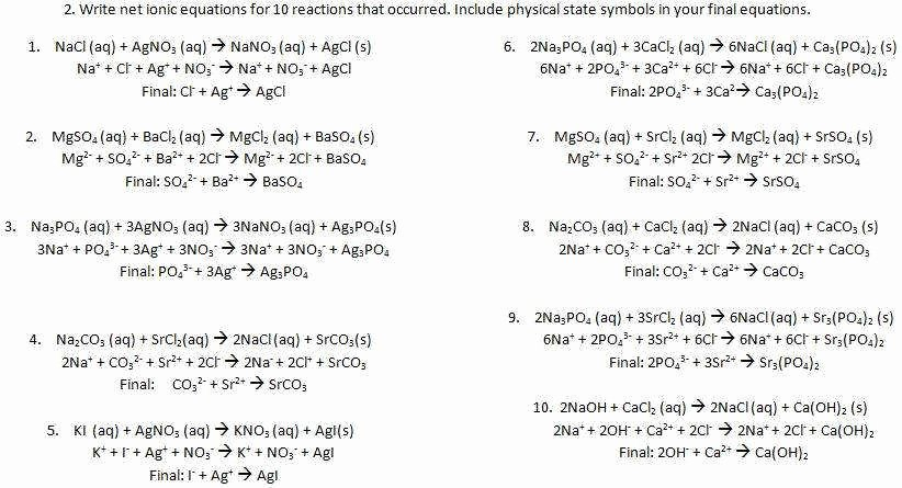 Net Ionic Equations Worksheet Best Of Net Ionic Equations Worksheet