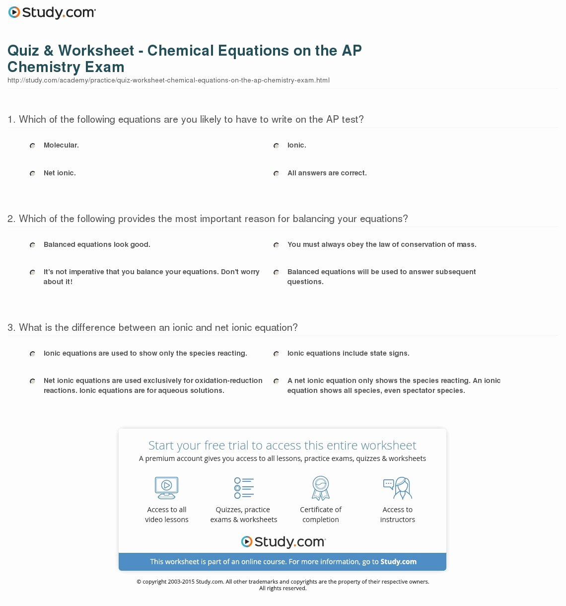 Net Ionic Equations Worksheet Fresh Quiz & Worksheet Chemical Equations On the Ap Chemistry