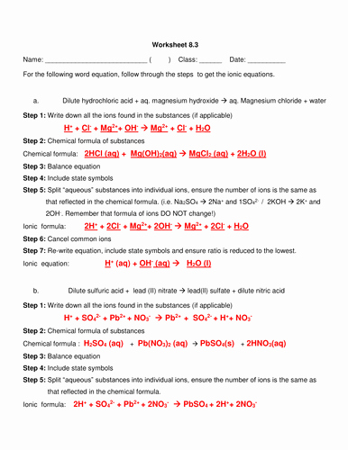 Net Ionic Equations Worksheet Inspirational Ionic Equation Writing Introduction Step by Step by