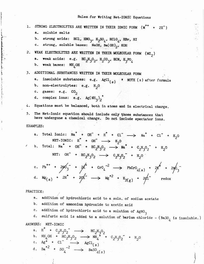 Net Ionic Equations Worksheet New Ap Chemistry Net Ionic Equations Practice with Answers