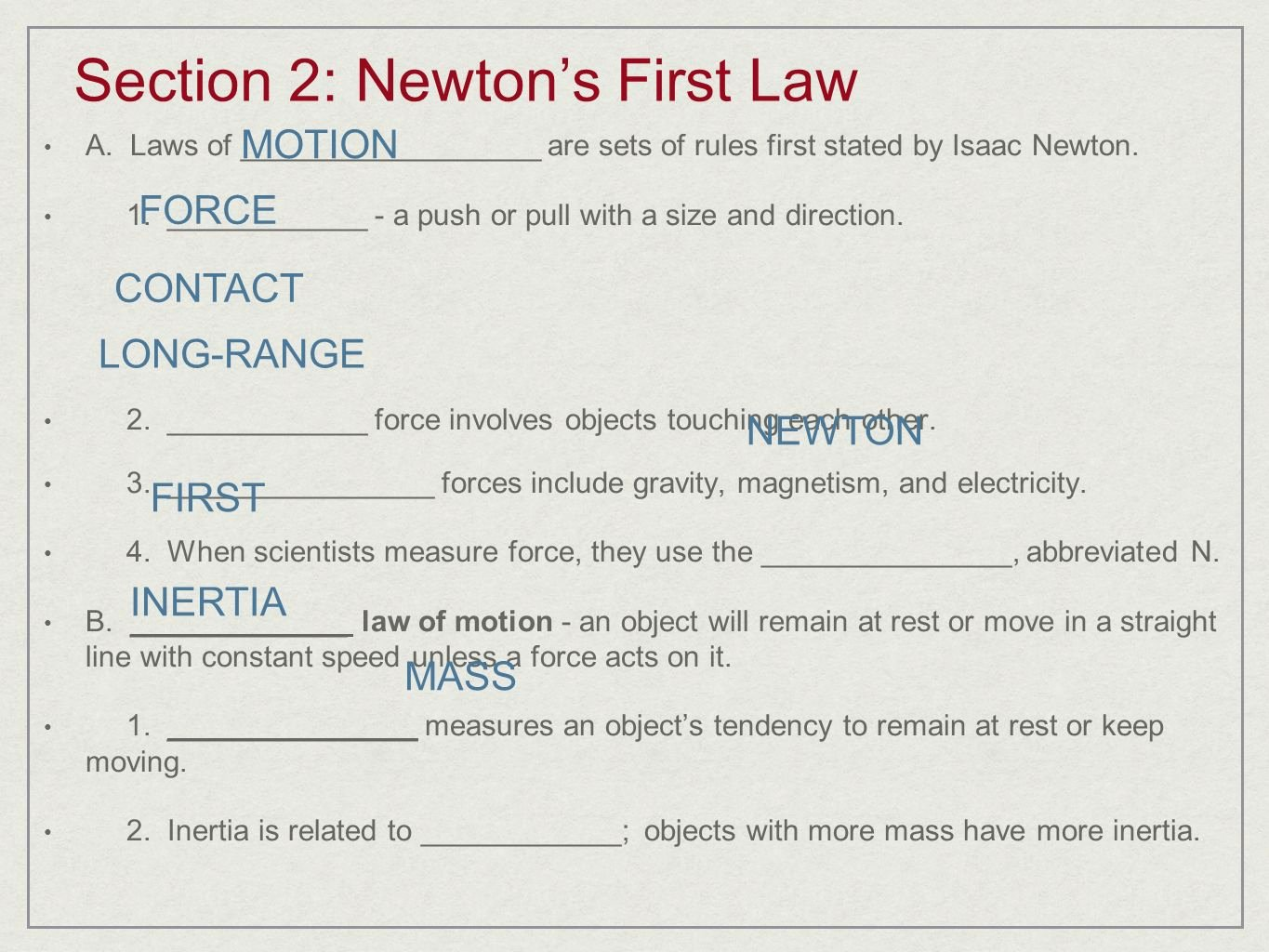 Newton Laws Worksheet Answers Inspirational Law Inertia Worksheet