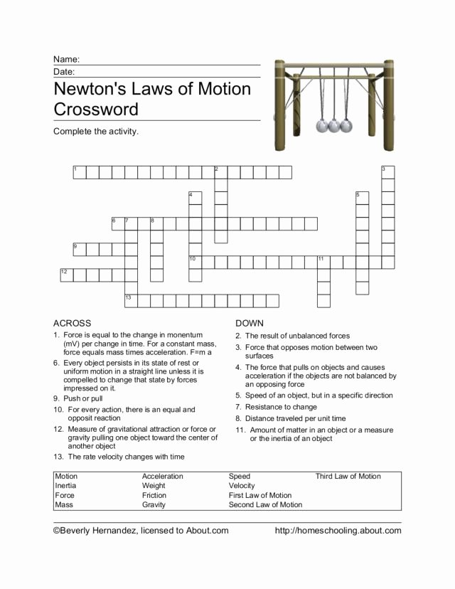Newton Laws Worksheet Answers Inspirational Newton S Laws Of Motion Crossword Worksheet for 4th 6th