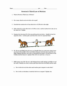 Newton Laws Worksheet Answers Inspirational Newton S Third Law Of Motion 9th 12th Grade Worksheet