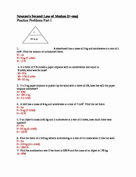 Newton Laws Worksheet Answers Luxury Newton S Second Law Of Moti by Paige Lam