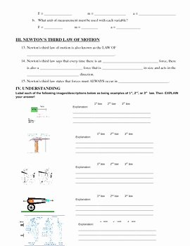 Newton Laws Worksheet Answers Unique Newton S Laws Of Motion Worksheet by Ms Science Spot