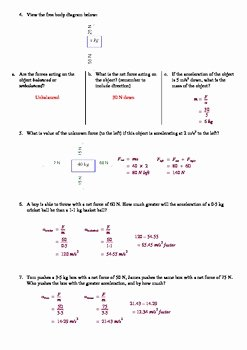 Newton Laws Worksheet Answers Unique Newton S Second Law Of Motion Worksheet by Aussie Science