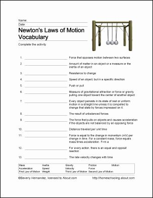Newton's Laws Of Motion Worksheet Best Of Best 25 Newtons Laws Ideas On Pinterest