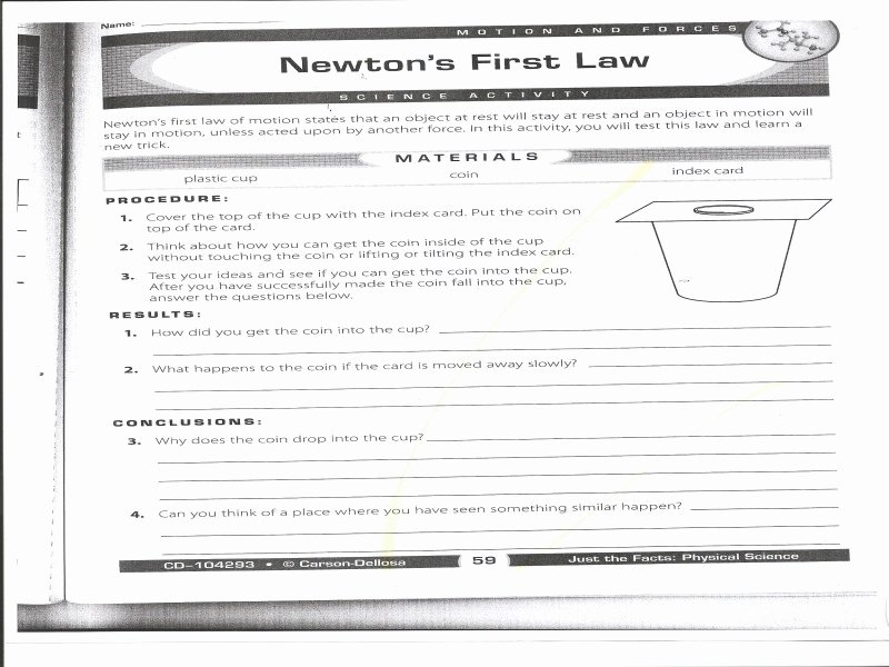 Newton's Laws Of Motion Worksheet Inspirational Newton S Laws Motion Worksheet Free Printable Worksheets