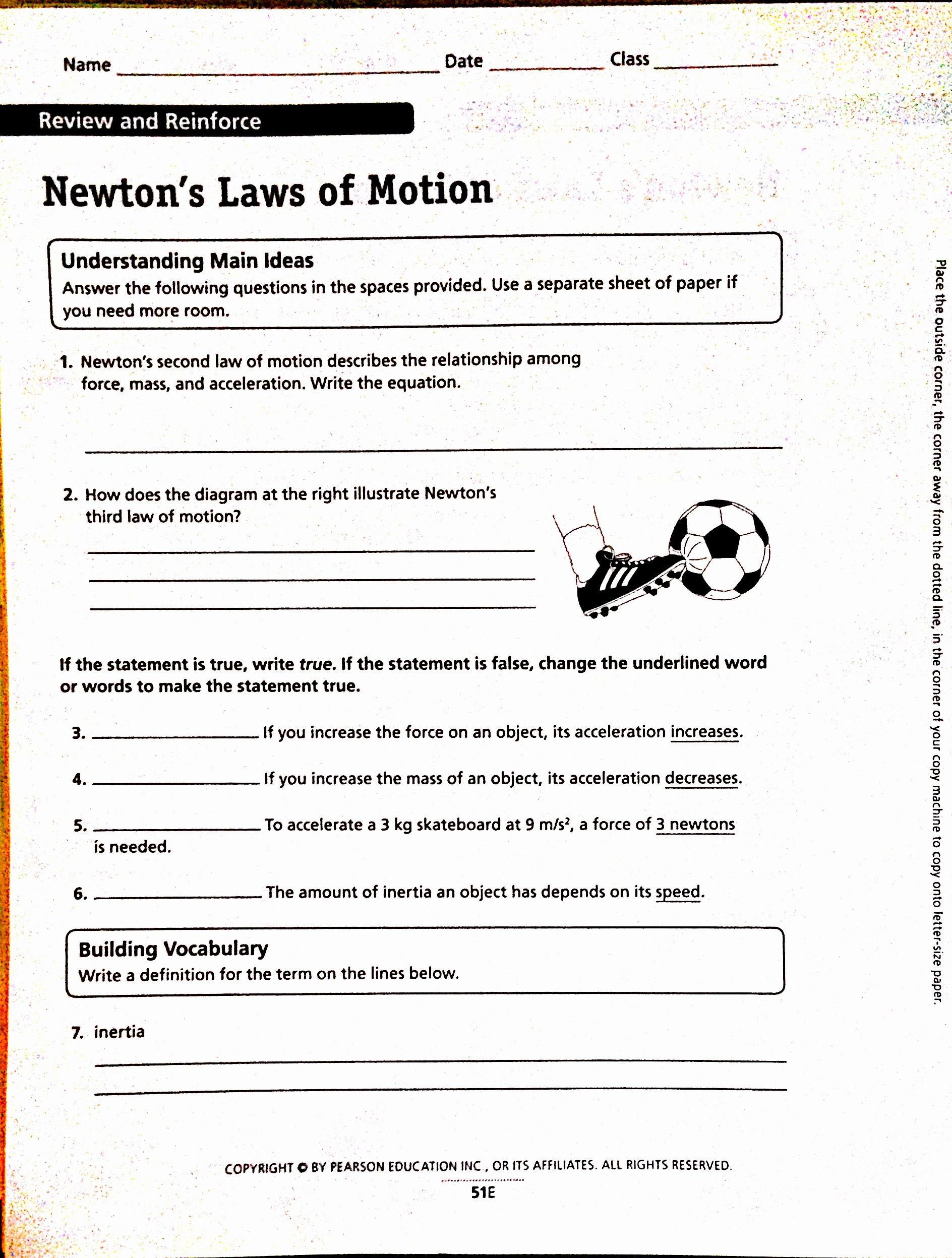 Newton's Laws Of Motion Worksheet Lovely Newtons Laws Worksheet Worksheets Tutsstar Thousands Of