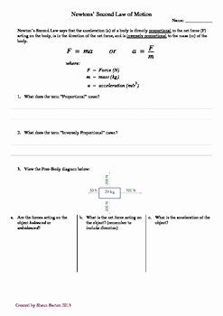 Newton's Laws Of Motion Worksheet Luxury Newton S Second Law Of Motion Worksheet by Aussie Science