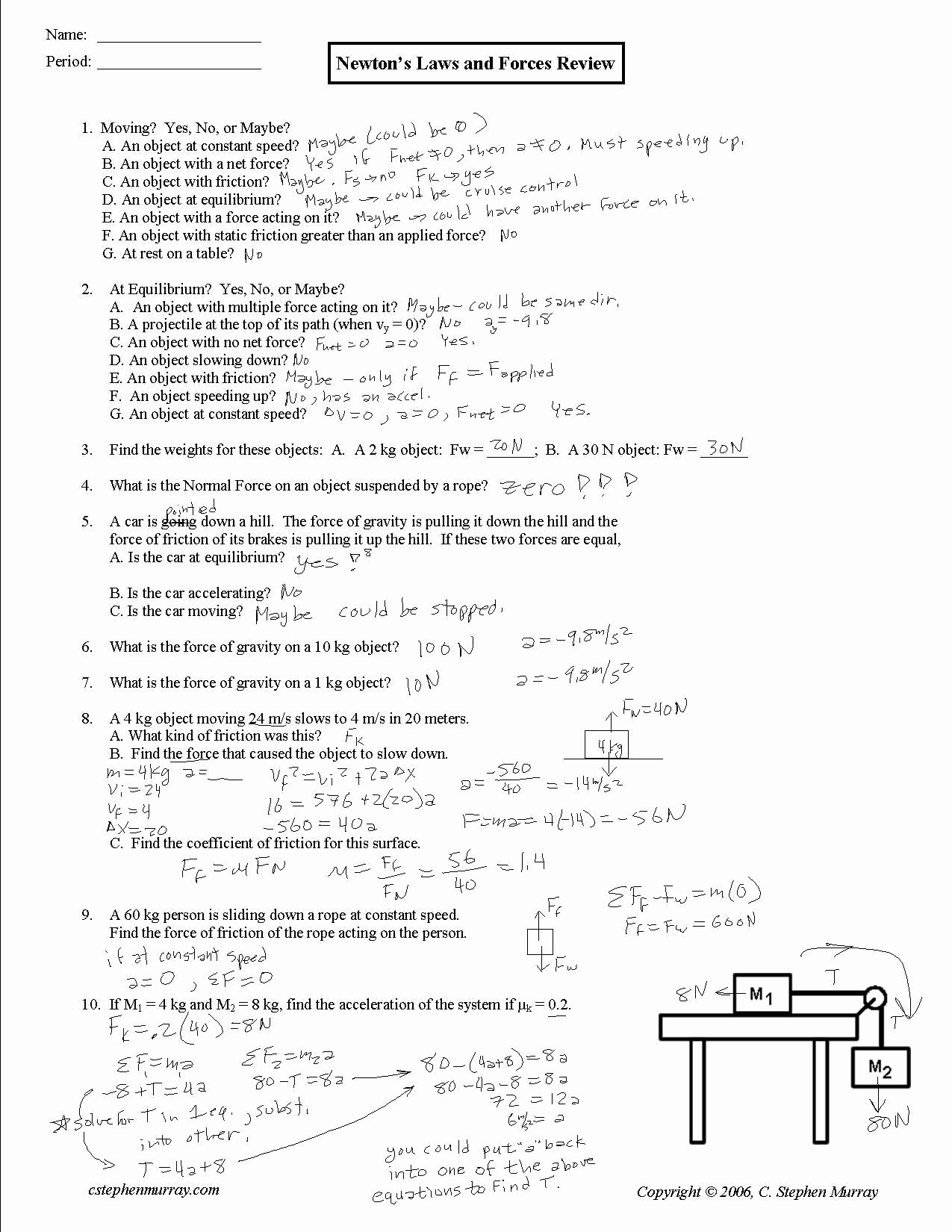 Newton's Laws Review Worksheet Answers Beautiful Newtons Second Law and Weight Worksheet Answer Key