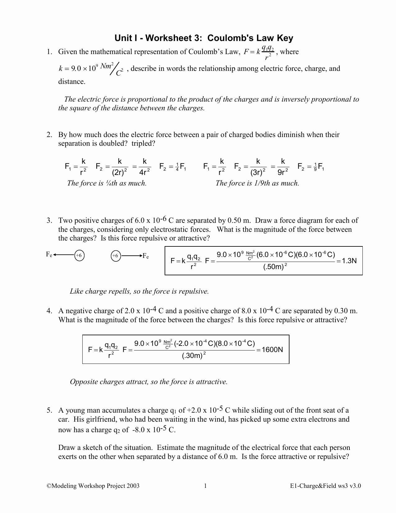 Newton's Laws Review Worksheet Answers Best Of Coulombs Law Worksheet Answers 1