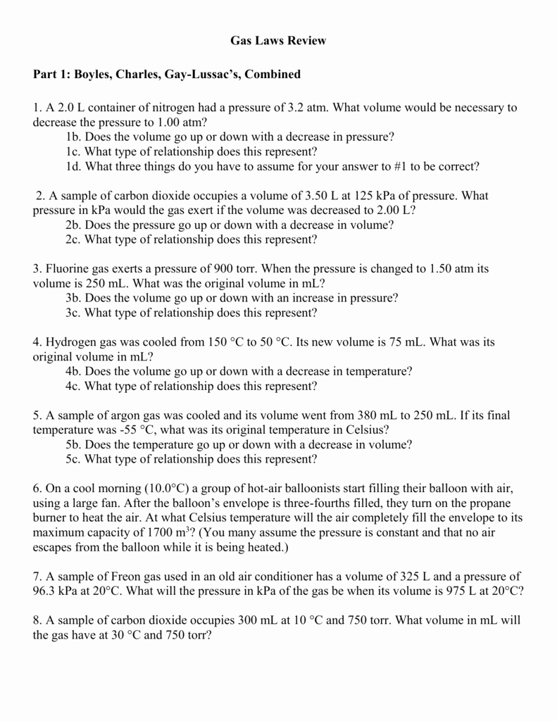 Newton's Laws Review Worksheet Answers Elegant Boyles Charles and Lussacs Laws Worksheet Answers