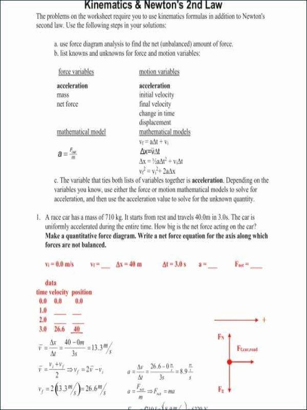 Newton's Laws Review Worksheet Answers Inspirational 71 Newton S Laws Worksheet Answers