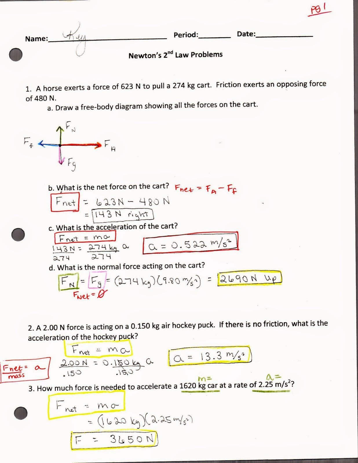 Newton's Laws Review Worksheet Answers Lovely Physics with Coach T Study Guide Answers to Worksheets
