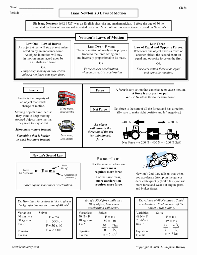 Newton's Laws Review Worksheet Answers New isaac Newtons 3 Laws Motion Worksheet Answers