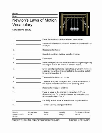 Newton's Laws Worksheet Answers Inspirational Newton S Laws Of Motion Crossword Homeschooling About