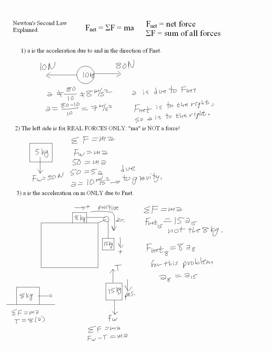 Newton's Second Law Worksheet Answers Beautiful Mr Murray S Website Two Dim Motion