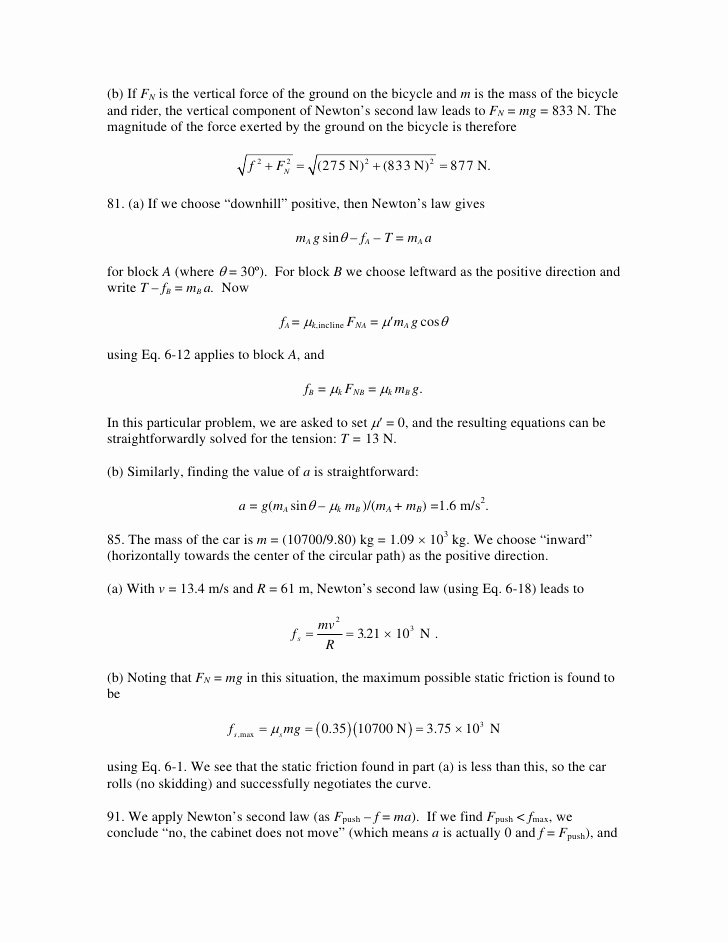 Newton's Second Law Worksheet Answers Beautiful Newton S Second Law Motion Problems Worksheet the Best