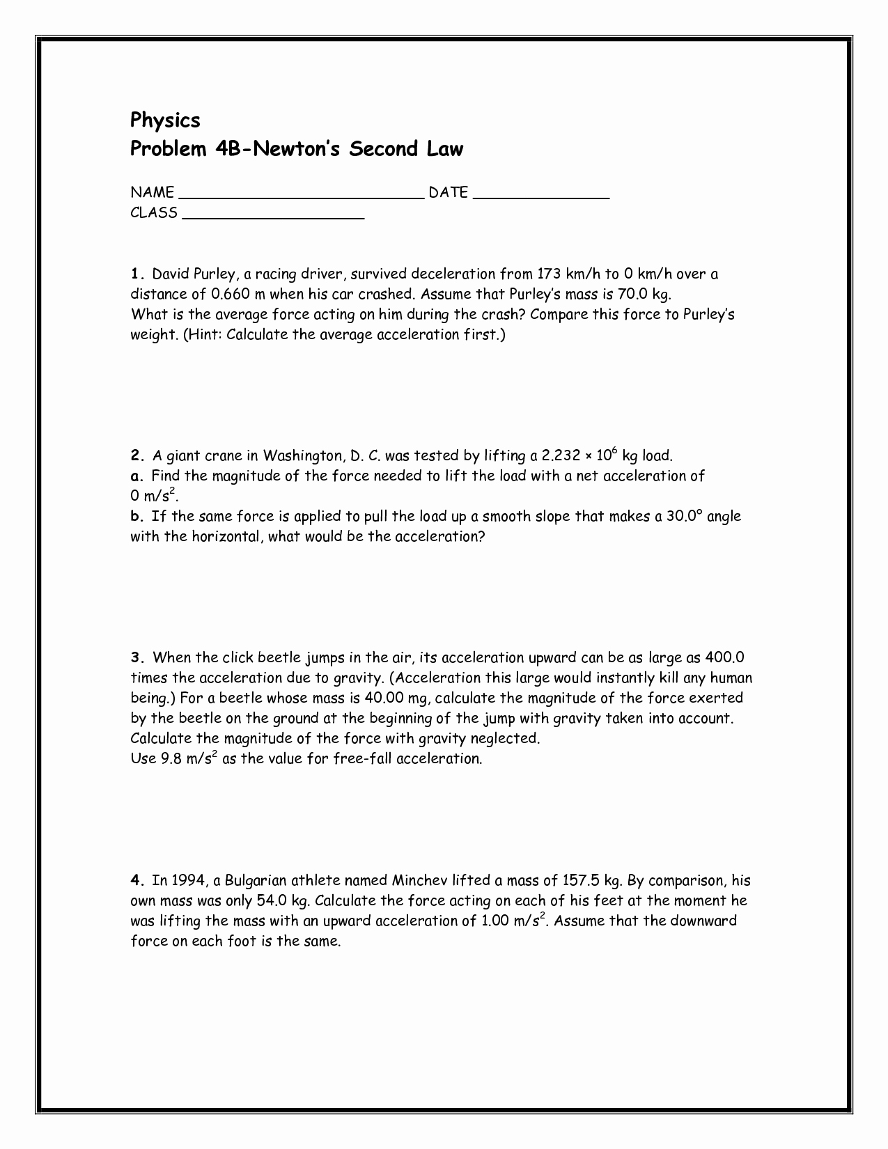 Newton's Second Law Worksheet Answers Best Of Newton S Second Law Worksheet Answers Doc