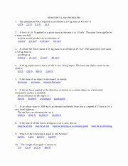 Newton's Second Law Worksheet Answers Elegant Newton S Second Law Motion Problems Worksheet Answer