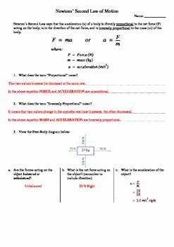 Newton's Second Law Worksheet Answers Elegant Newton S Second Law Of Motion Worksheet by Aussie Science