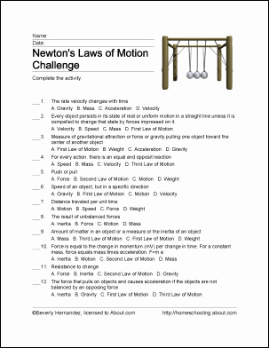 Newton's Second Law Worksheet Answers Lovely Free Printable Newton S Laws Of Motion Word Search