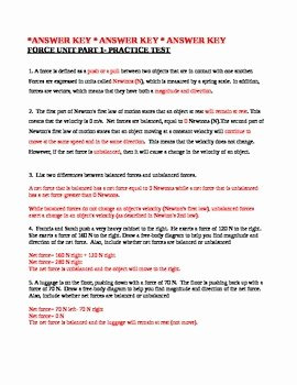 Newton's Second Law Worksheet Answers Luxury Net force and Newton S Second Law Of Motion Worksheet by