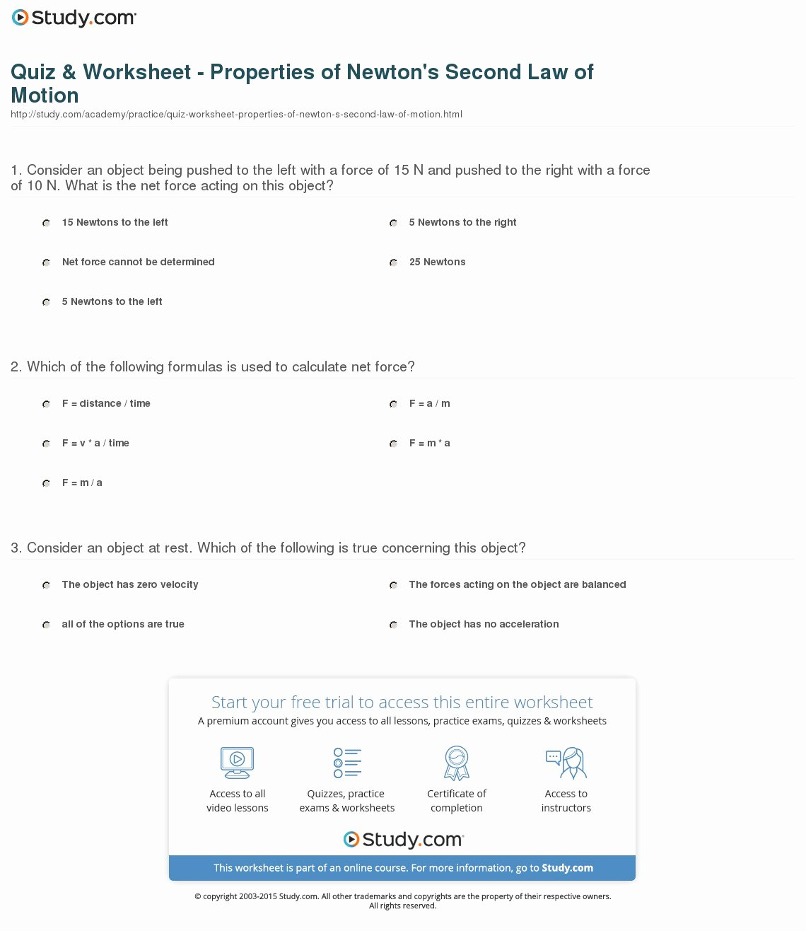 Newton's Second Law Worksheet Answers Unique Quiz & Worksheet Properties Of Newton S Second Law Of