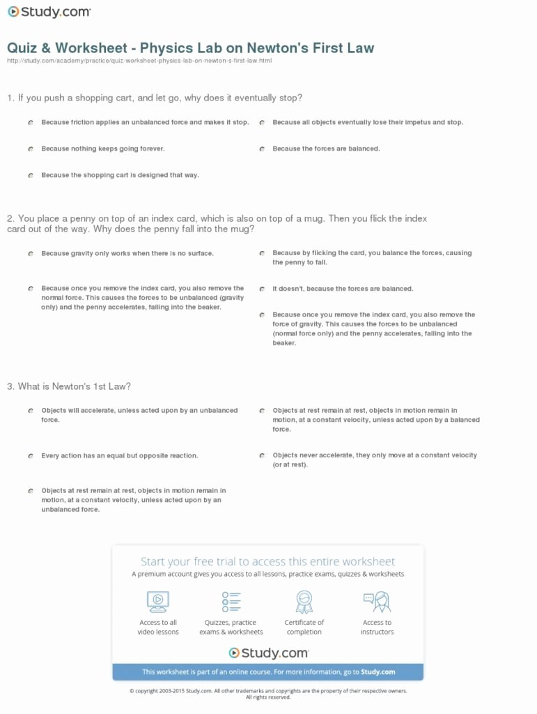 Newton's Second Law Worksheet Awesome Downloadable Template Of Quiz Worksheet Physics Lab