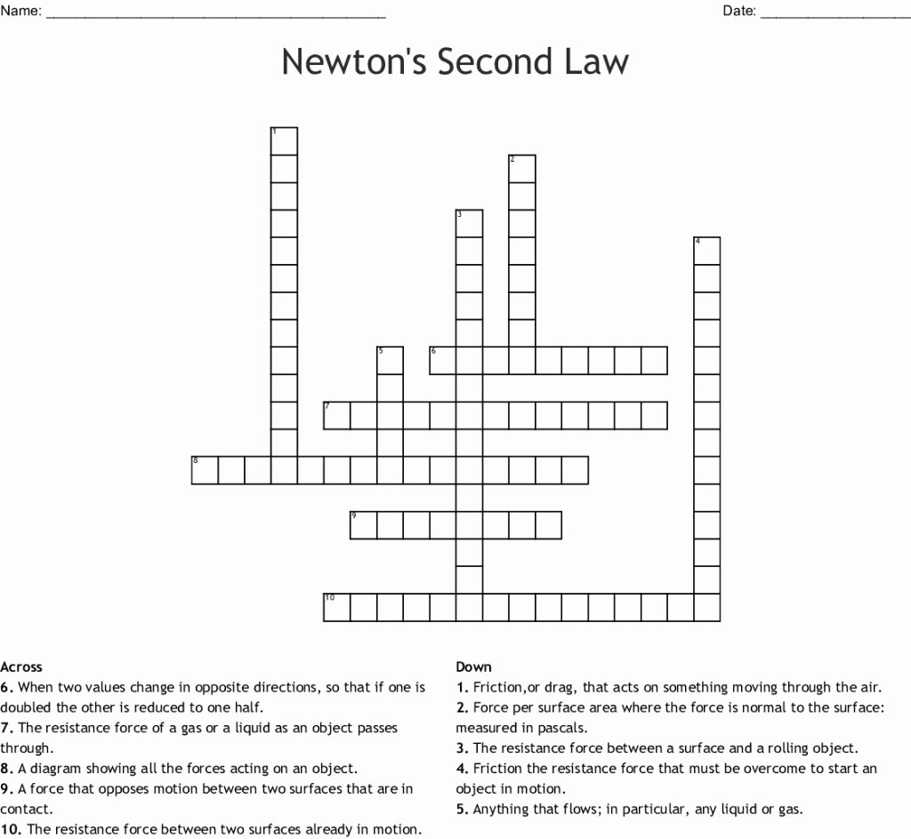 Newton's Second Law Worksheet New Download This Newton S Second Law Crossword Wordmint From