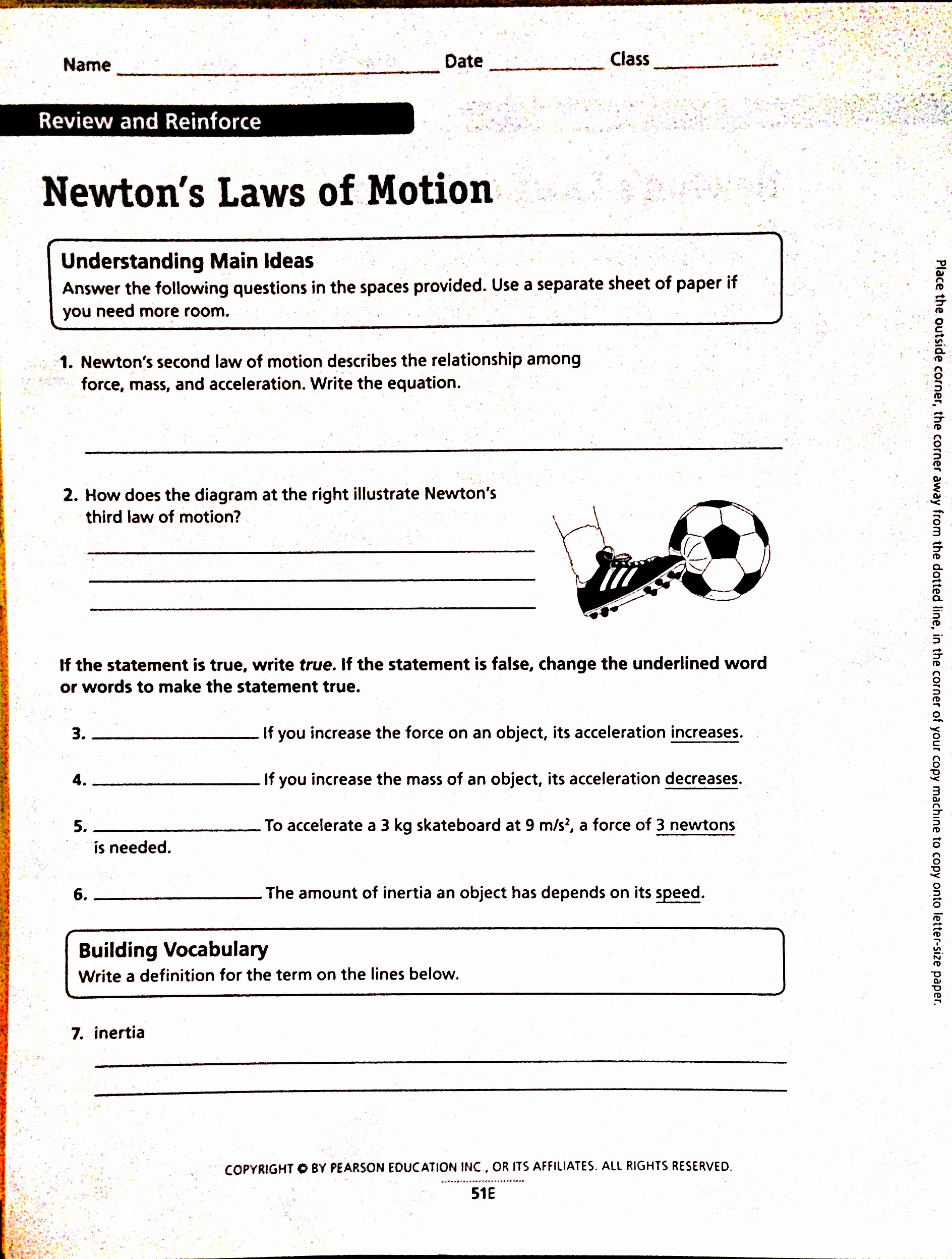 Newton's Third Law Worksheet Answers Elegant Newtons Laws Worksheet Worksheets Tutsstar Thousands Of