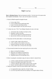 Night Elie Wiesel Worksheet Answers Beautiful Unit Test for Night by Elie Wiesel Free Document