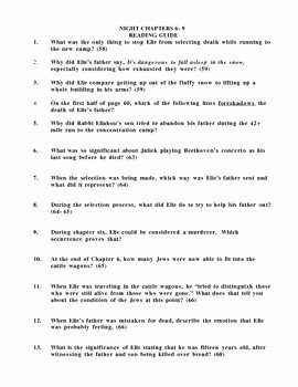 Night Elie Wiesel Worksheet Answers Best Of Night by Elie Wiesel Chapters 6 9 Reading Guide and Test