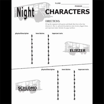 Night Elie Wiesel Worksheet Answers Fresh Night Characters organizer by Elie Wiesel by Created for