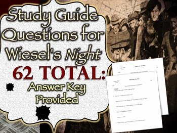 Night Elie Wiesel Worksheet Answers Inspirational Elie Wiesel S Night Study Guide Questions & Answers by