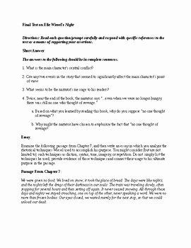 Night Elie Wiesel Worksheet Answers New Short Answer and Essay Final Test for Elie Wiesel S Night