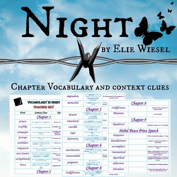 Night Elie Wiesel Worksheet Answers Unique Night by Elie Wiesel Vocabulary and Context Clues by